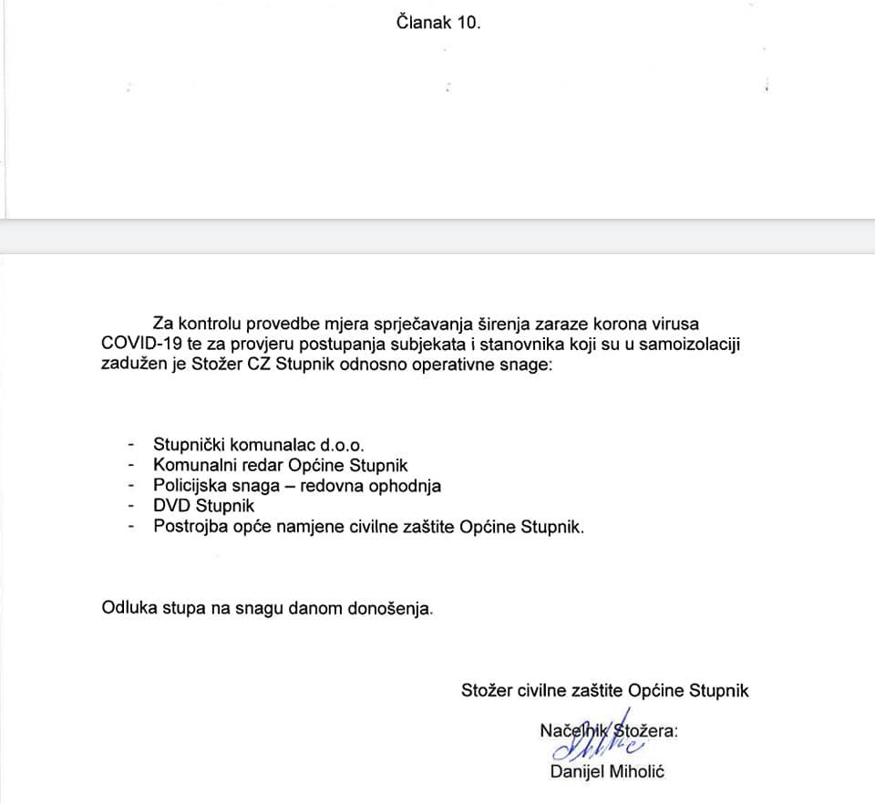 Odluka Stožera civilne zaštite Općine Stupnik