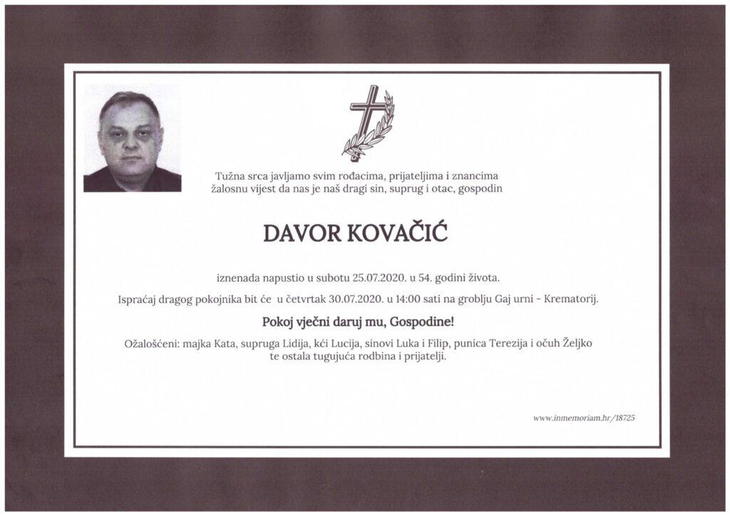 Osmrtnica Davor Kovačić